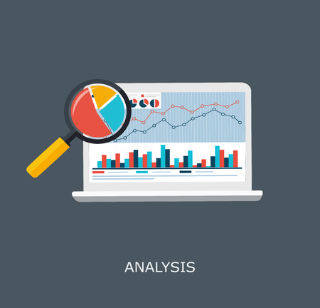 reviewing: Web Analytics Information and Development Website Statistic, Monitor with the  Growth Index Illustration