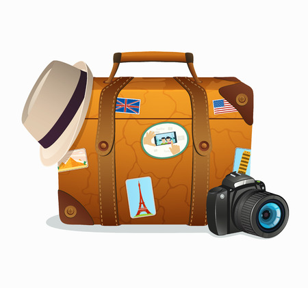 Vintage Travel Suitcase with Tickers from Around the World Vector