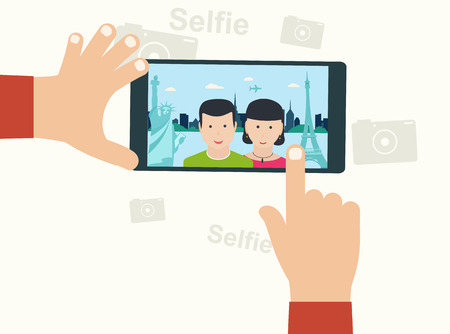 oncept: Selfie Photo on Smart Phone ?oncept on White Background. Young Couple Taking Selfie Photo Together Against the Background City