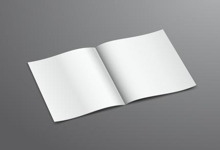 Blank White Open Brochure Magazine, Isolated on Dark Background Vector