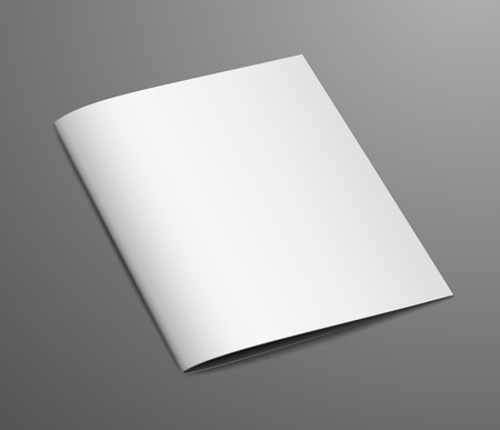 mockup: Blank White Closed Brochure Magazine, Isolated on Dark Background