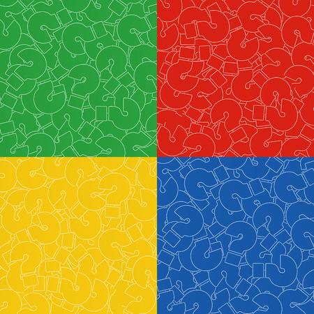 質問マークの背景。シンボルを助けます。黄色、赤、青、および緑の色の背景のセット