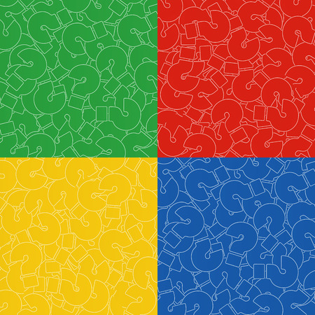 Background of Questions Mark. Help Symbol. Set of Backgrounds in Yellow, Red, Blue, and Green Color