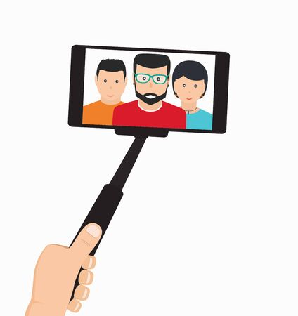 stick: Monopod in Hand Taking Selfie in the Group of People On a Mobile Phone, Tool For Phones on White Background