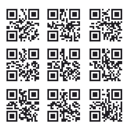Qr Code Set, Square Product Barcode  Label Vector