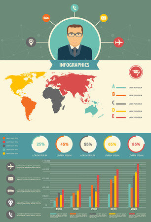 web design company: Information User Flat Pattern Infographics, With Statistical Data, Pie Charts.