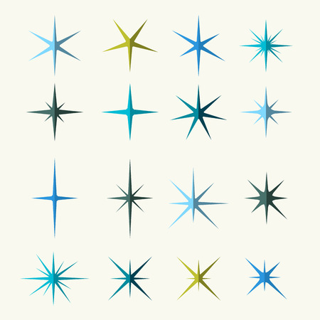Sparkles Symbols Various Shades on White Background