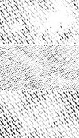 ビンテージ ハーフトーンの背景、白い背景に散在の黒い点  イラスト・ベクター素材