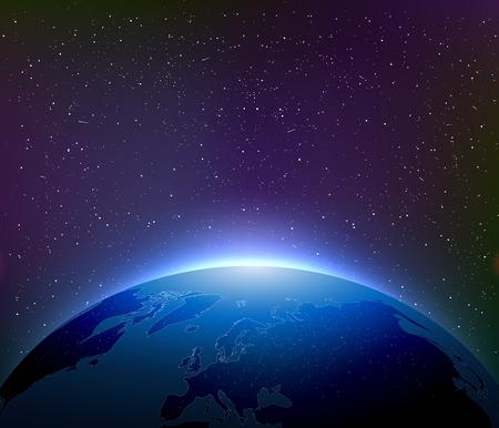 별이 빛나는 하늘 가운데 밤 지구
