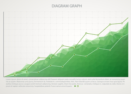 sales graph: Green business chart graph with two lines of increase Illustration