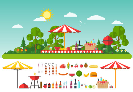 bbq picnic: Picnic on nature. Set of elements for outdoor recreation