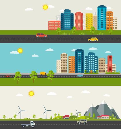 도시와 교외 풍경의 집합입니다. 도시 생활의 현대적인 건물