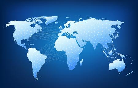 通訊: 由線連接節點的世界地圖。多邊形結構圖。 向量圖像