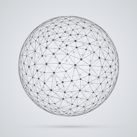 network: Global  network, sphere. Abstract geometric spherical shape with triangular faces, globe design.
