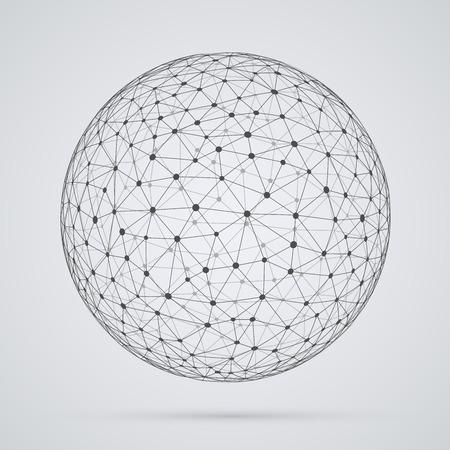 alrededor del mundo: Red global, esfera. Forma esférica abstracta geométrica con caras triangulares, diseño del globo.