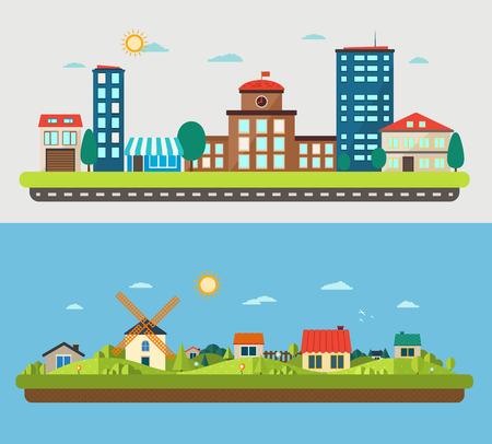 paesaggio industriale: Paesaggi urbani e dei villaggi su sfondo blu e la luce Vettoriali