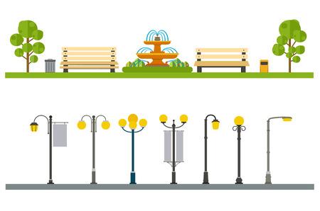 banc de parc: Décor extérieur urbain, éléments parcs et ruelles, rues et des trottoirs Illustration
