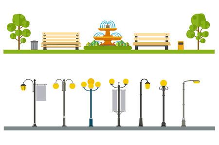 lamp silhouette: Urban outdoor decor, elements parks and alleys, streets and sidewalks Illustration