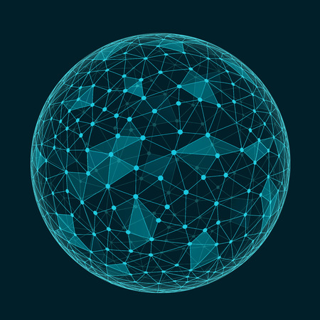 esfera: Forma poligonal geométrico abstracto con caras triangulares, estructura de conexión esfera