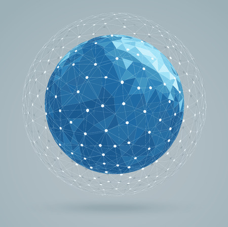 wire globe: Geometric abstract structure blue colors, mesh white color
