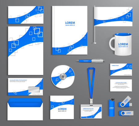 ides: Blue corporate id template company style abstract of design elements. Business documentation. Illustration