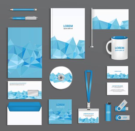 ides: Blue corporate id template with triangular faces company style abstract of design elements. Business documentation.