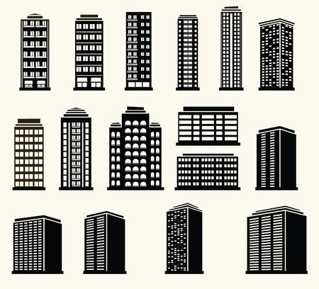 modern buildings: Ic�nes de b�timents modernes en noir et blanc urbaines Illustration