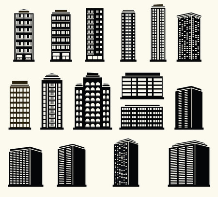 midtown: Icons of urban black and white modern buildings