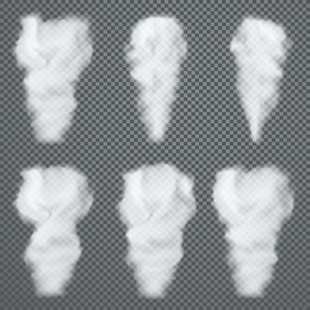 Transparent white smoke, vector set on dark background Vectores