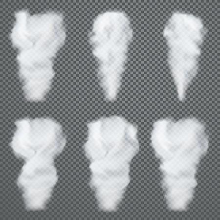 Transparent white smoke, vector set on dark background Illustration