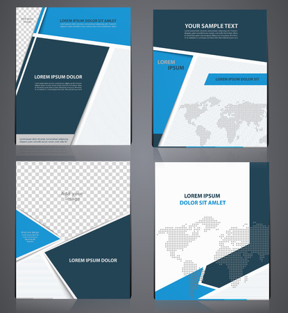 Set of blue business brochures  in one style with pixel world map,  flyer design template in A4 size, or magazine cover, abstract modern backgrounds Vectores