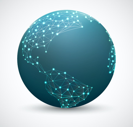 Polygonal world map with points. Network connections, network globe Illustration