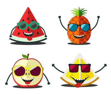 limon caricatura: Frutas divertidos fijados. Diseño de dibujos animados rebanadas de alimentos de la piña, limón, manzana, sandía Vectores