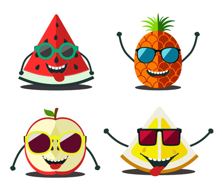 sunglasses cartoon: Funny fruits set. Design cartoon slices food  of pineapple, lemon, apple, watermelon