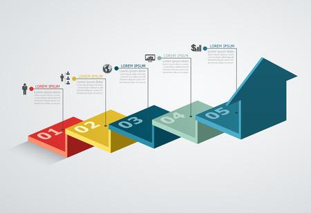 escalera: Infografía plantilla de diseño con estructura de paso flecha hacia arriba, concepto de negocios con piezas 5 opciones