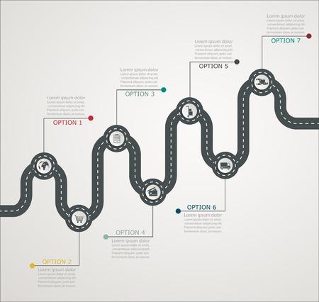 route: Route structure par étapes de la chronologie infographie avec des icônes, services aux entreprises, des magasins, diffusion sur le Web