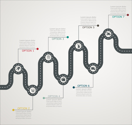 Road infographic timeline stepwise structure with icons, business service, shopping, web delivery Vettoriali