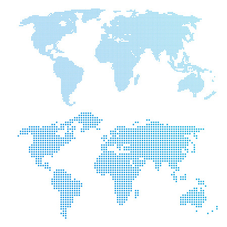 world design: World map in dots, blue color.