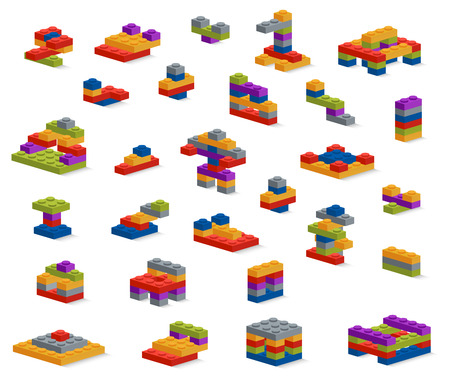 Set of different plastic pieces constructor, various constructions Illustration