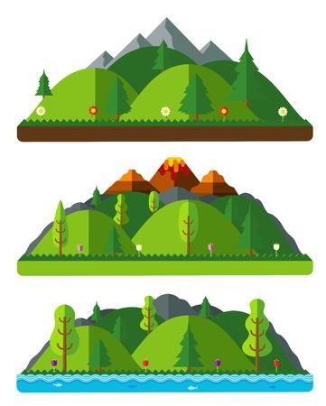 디자인 자연 풍경, 언덕과 산. 흰색 배경에 플랫 스타일의 자연 풍경