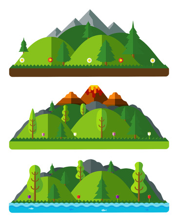industrial park: Design nature landscapes, hills and mountains. Natural landscapes in a flat style on white background Illustration