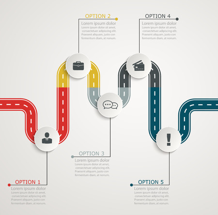 Colorful road infographic timeline with icons, stepwise horizontal structure