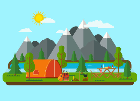 Summer landscapes. Picnic barbecue with tent in mountains near a river. Hiking and camping.  イラスト・ベクター素材