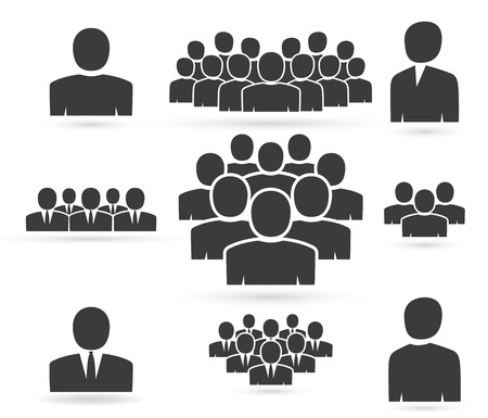 sociedade: Multidão de pessoas na equipe ícone silhuetas Ilustração
