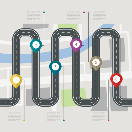 Road infographic stepwise structure with pin pointer. Navigation concept with city map Ilustração