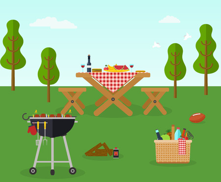 Picnic bbq party outdoor recreation  イラスト・ベクター素材