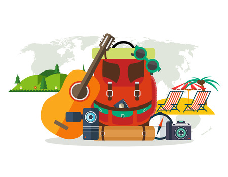 camping equipment: Camping equipment, summer vacation, beach rest, mountain vacation. Travel backpack with a guitar, a video camera, photo camera, a compass, sunglasses on background with world map