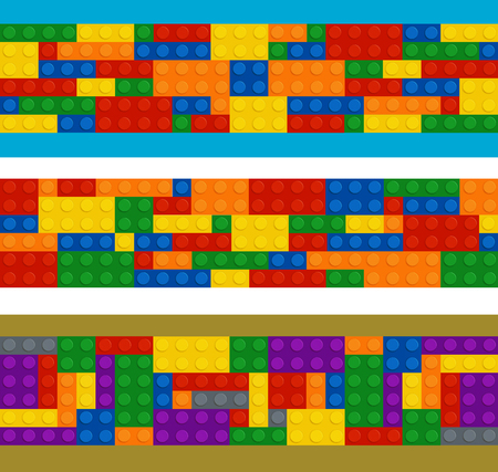 constructor: Plastic constructor in horizontal order, set of different color pieces