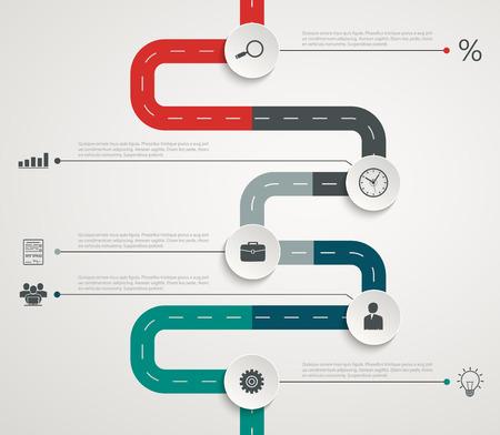 アイコン付き道路インフォ グラフィックのタイムラインです。垂直構造