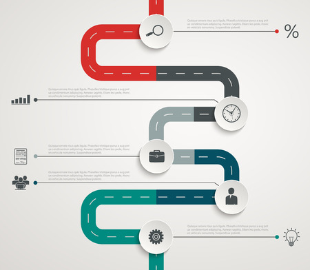 Road infographic timeline with icons. Vertical structure